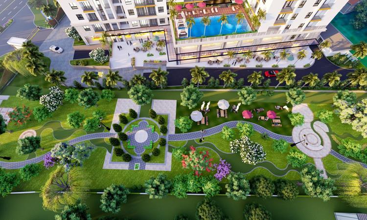 Phối cảnh công viên và hồ bơi của dự án