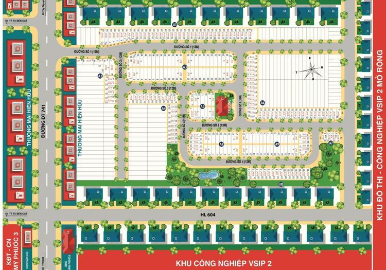 Mặt bằng phân lô dự án BenCat City Zone tại Chánh Phú Hoà