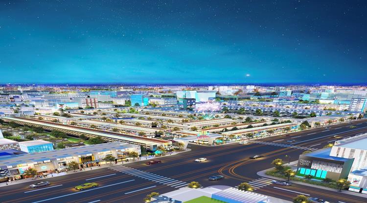 Phối cảnh dự án BenCat City Zone Bình Dương vào ban đêm