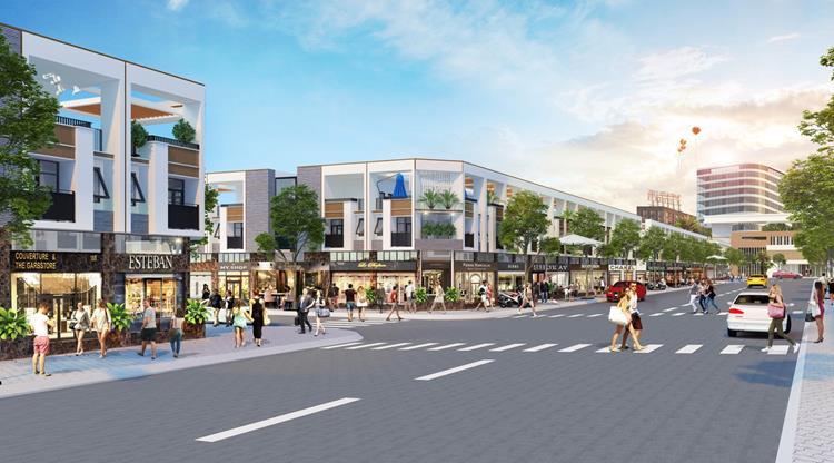 Phố đi bộ tại trục đường chính của dự án BenCat City Zone Bình Dương